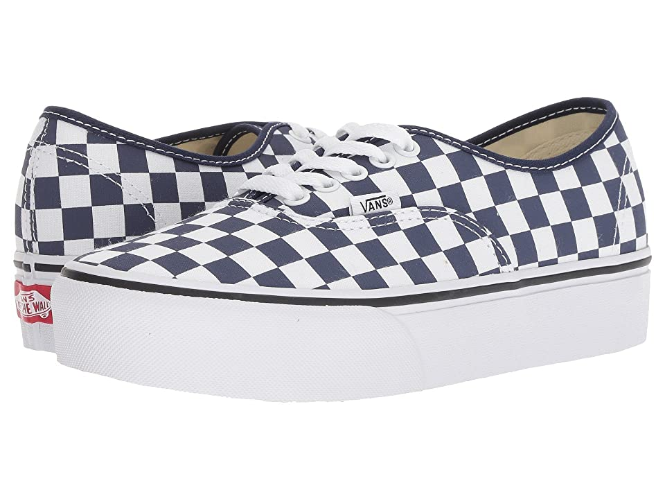Vans Authentic Platform 2.0 ((Checkerboard) Medieval Blue/True White) Skate Shoes