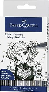Faber-Castell Creative Pitt Artist Pens, Manga Set, Pack of 8, Shades of Gray (54-167107)