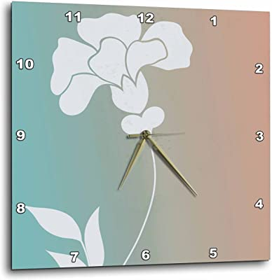 3dRose dpp/_123666/_1 White Flower Silhouette Floral Art Wall Clock 10 by 10-Inch
