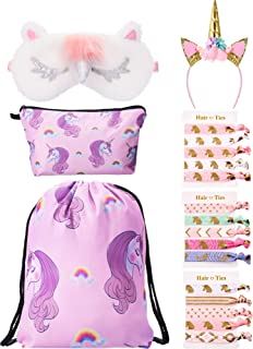 BBTO Unicorn Gifts for Girls Include Unicorn Drawstring Backpack, Makeup Bag, Headband, Eye Mask and Hair Ties (Pink)