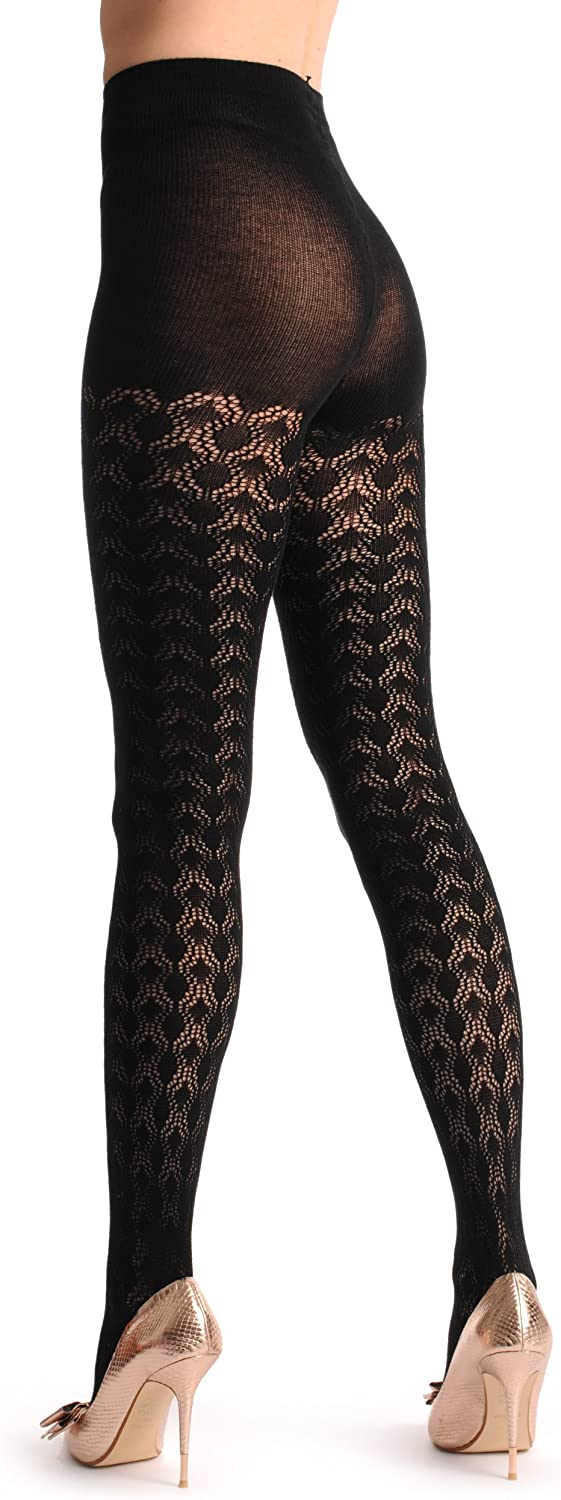 Black Rounded Rombs Lace Cashmere 200 Den - Black Lace Geometrical Pantyhose (Tights)
