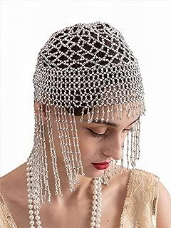 SWEETV Beaded 1920s Cap Headpiece, Elastic Flapper Headpiece, Great Gatsby Hair Accessories