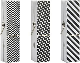 MELANNCO Oversize Clothespin Picture Frame, Black/White, 3 Piece