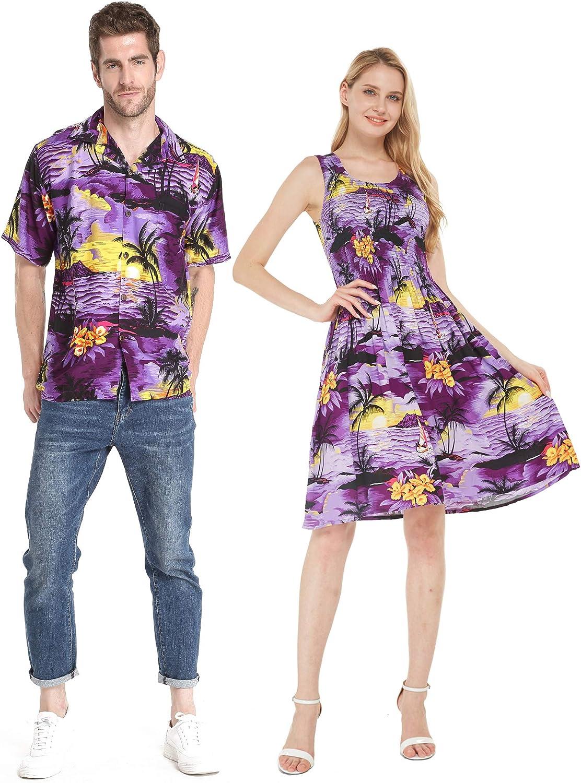 Couple Matching Hawaiian Luau Aloha Shirt Tank Dress in Day Dream Bloom