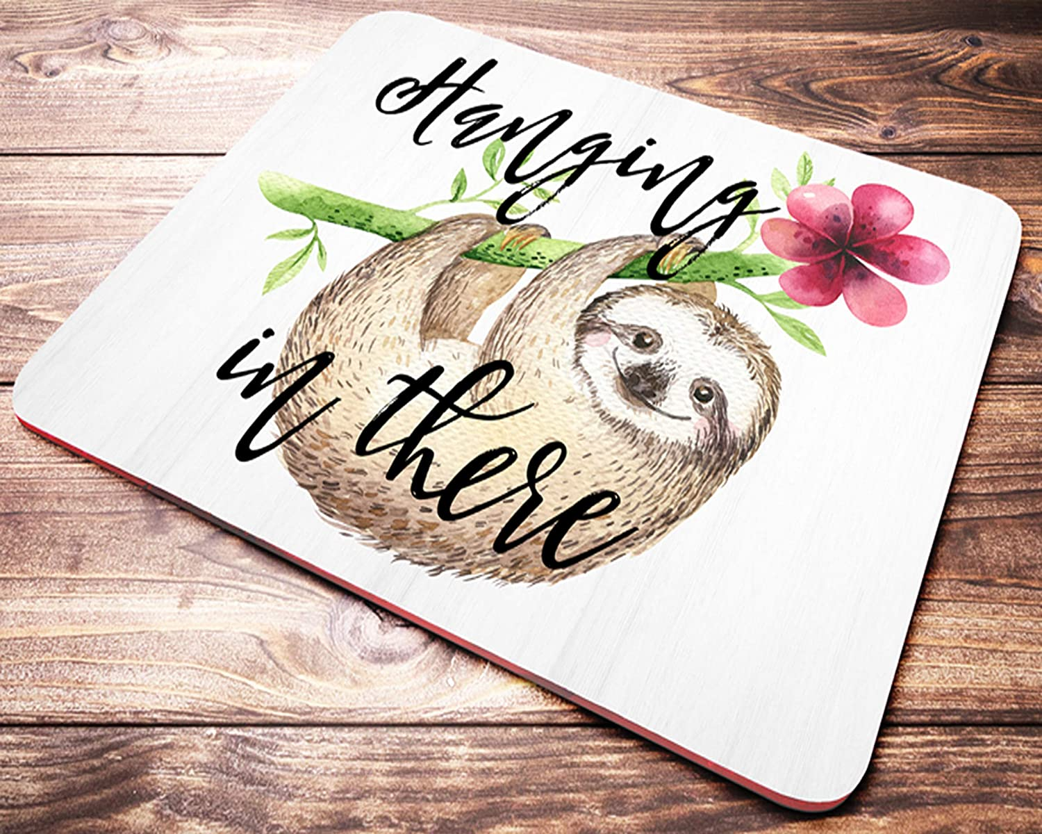 Funny Sloth Mouse Pad Hanging in Courier shipping free There Green Floral Max 49% OFF Pink and Wat