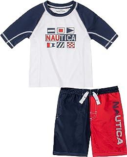 Nautica Sets (KHQ) Boys' Swim Shorts Set, White/Navy, 6
