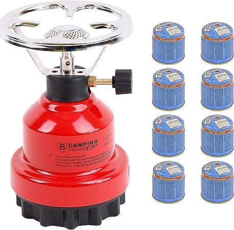 Hornillo de gas E190 de metal con 4 gas (rojo)