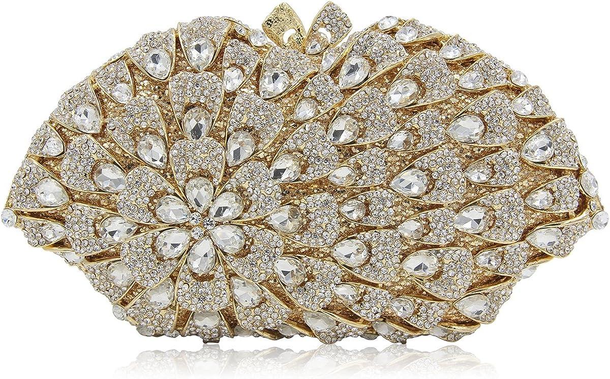 Flada Wedding Clutch Bags Rhinestones and Crystal Flower for Party Handbags for Women