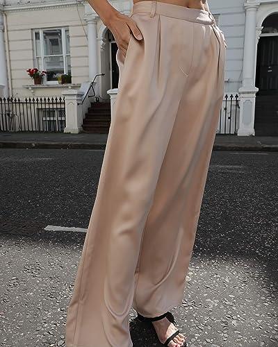 The Drop Women's Standard Beige Loose High Rise Wide Leg Silky Pant By @Leoniehanne