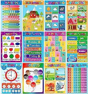 ملصقات تعليمية للأطفال في مرحلة ما قبل المدرسة وحروف الأبجدية، والأرقام، والأشكال والألوان، والفصل، والأسبوع، والأشهر، وأك...