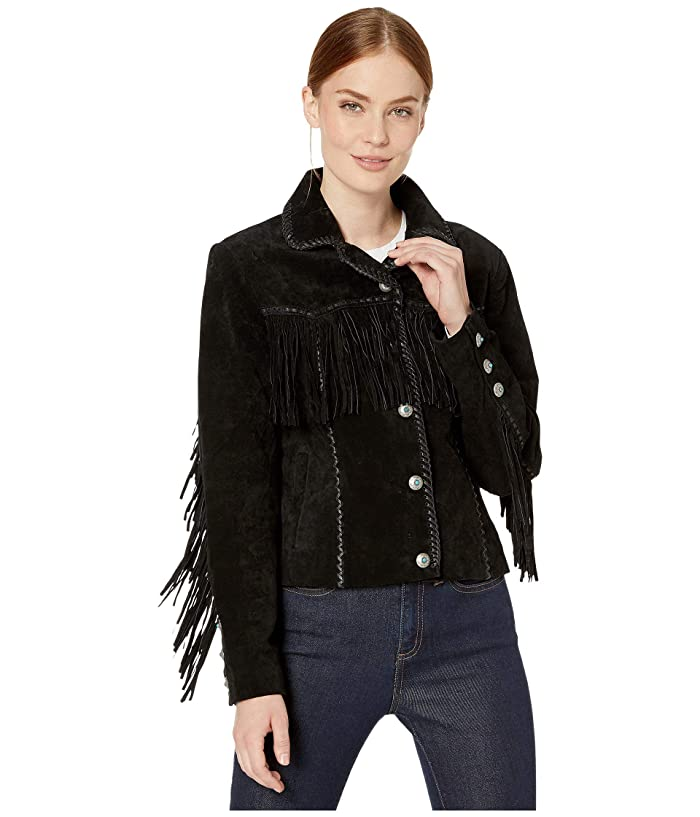 Scully  Suede Jacket with Fringe and Turquoise Snaps (Black) Womens Jacket