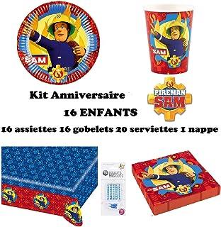 comprar comparacion uni que Set de Cumpleaños Completa Sam el Bombero 16 niños (16 Platos, 16 Tazas, 20 servilletas,1 Mantel + 10 Velas mágica...