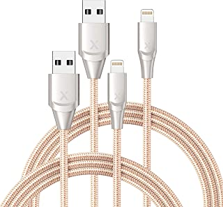 Xcentz iPhone Charger 2 Pack 6ft, Apple MFi Certified Lightning Cable Fast Charger iPhone Cable, Durable Braided Nylon Metal Connector Charger Cord for iPhone 11/X/XS Max/XR/8 Plus/7/6/5, ipad - Gold