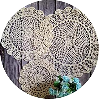 camellia store Vintage Cotton Crochet Round Cup Mug Doily Glass Coaster Christmas Placemat Table Napkins for Home Kitchen Wedding Decoration,Yellow,Round 20cm