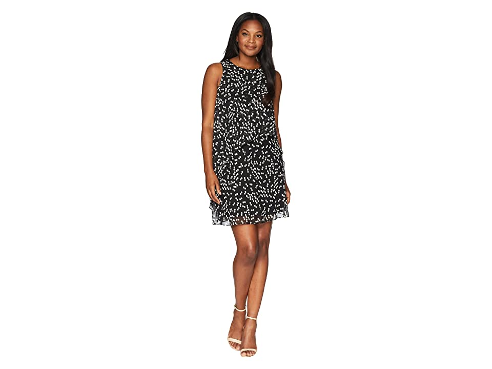 Anne Klein Stellar Dot Layered Dress (Black/Parchment) Women