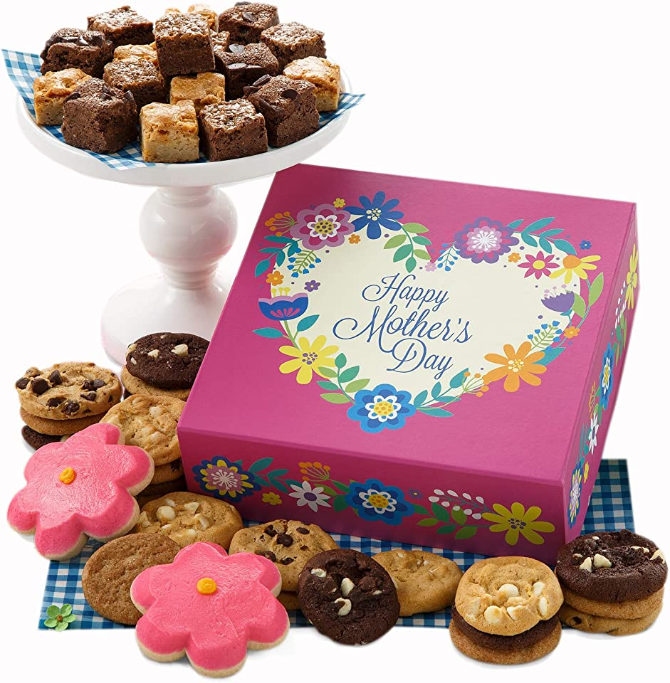 Mrs. Fields Cookies Mother's Day Bites Box - Includes: Nibblers Bite-Sized Cookies, Brownie Bars, Frosted Flower Cookies