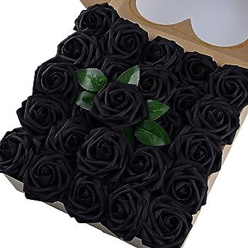 Breeze Talk Artificial Flowers Black Roses 50pcs Realistic Fake Roses w/Stem for DIY Wedding Bouquets Centerpieces Arrangements Party Baby Shower Home Decorations (50pcs Black)