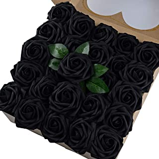 Breeze Talk Artificial Flowers Black Roses 50pcs Realistic Fake Roses w/Stem for DIY Wedding Bouquets Centerpieces Arrangements Party Baby Shower Home Decorations (50pcs Black)