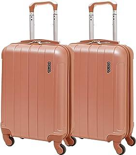 EONO Essentials ABS Bagage Cabine Bagage à Main Valise Rigide Légere à 4 roulettes , Set de 2 , Or Rose