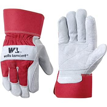 Heavy Duty Double Leather Palm Work Gloves with Safety Cuff, Extra Large (Wells Lamont 4050), Red/White