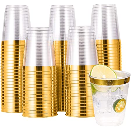 100 PACK Gold Plastic Cups,10 Oz Clear Plastic Cups Tumblers, Elegant Gold Rimmed Plastic Cups, Disposable Cups With Gold Rim Perfect For Wedding,Thanksgiving Day, Christmas,Halloween Party Cups