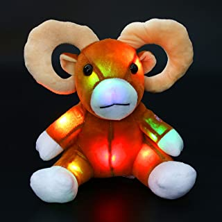 Bstaofy LED Sheep Stuffed Animal Glow Soft Goat Plush Toy Light up Impala with Twisted Horns Birthday Christmas Festival Occasions Gift for Kids, 9''