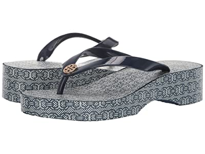Tory Burch Cut Out Wedge Flip-Flop (Tory Navy/Navy Gemini Link Jacquard) Women