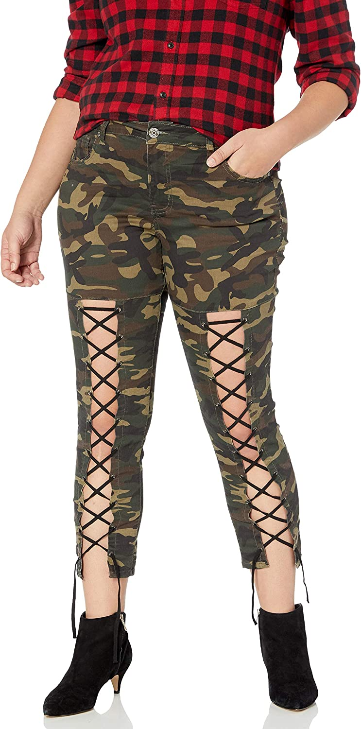 COVER GIRL Women's Camo Print Skinny Jeans Joggers Cargo Lace Leg