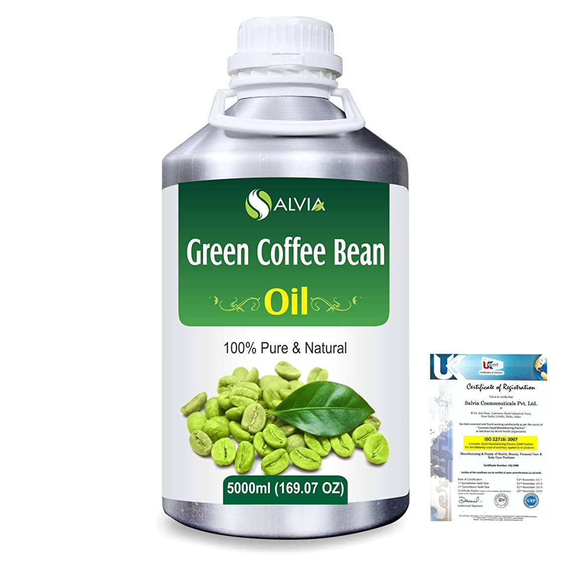 フリンジ探検奨学金Green Coffee Bean (Coffer) arabica)100% Natural Pure Carrier Oil 5000ml/169 fl.oz.
