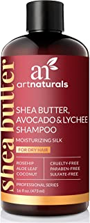 ArtNaturals Shea-Butter Avocado and Lychee Shampoo – (16 Fl Oz / 473ml) – Moisturizing Silk – Nourishing For Dry and Damaged Hair – Sulfate-Free and Cruelty-Free – Coconut, Aloe Vera and Rosehip