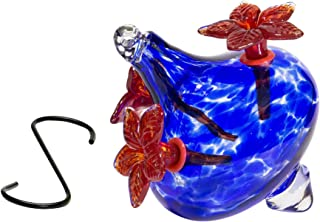 Best Home Products, Blown Glass Hummingbird Feeder, Red Bouquet Cap, 24 Ounces (Blue)