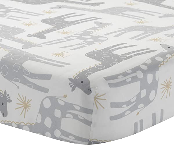 Lambs Ivy Signature Moonbeams Cotton Fitted Crib Sheet Gray Gold White