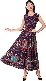 6TH AVENUE STREETWEAR Women's Cotton Dress - Free Size Upto 44 XXL (Blue)