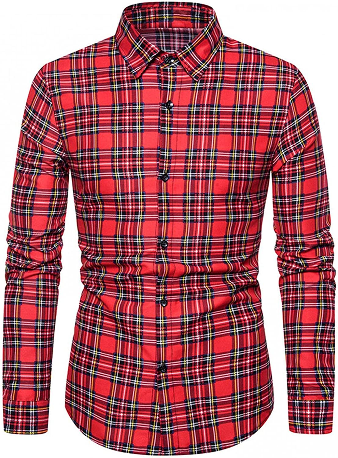 HGOOGY Men's Long Sleeve Casual Shirt Fall Plaid Printed Button Down Pocket Tops Lightweight Slim Fit Blouse