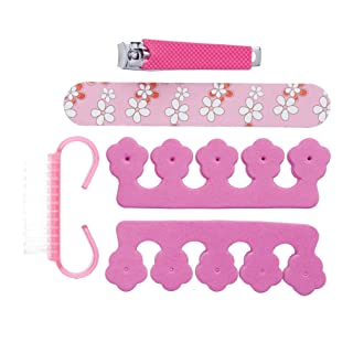 Amazon Brand - Solimo Manicure and Pedicure Kit with Nail File, Brush, Two Toe Separators and Nail Clipper, Pink, Pack of 5
