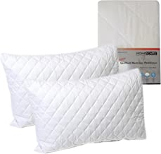 HOMESCAPES Polycotton Quilted Pillow Protectors 2 pack (Pair) Non Allergenic Bedding Protector Standard Size as Supplied to Hotels Bed and Breakfasts and Universities