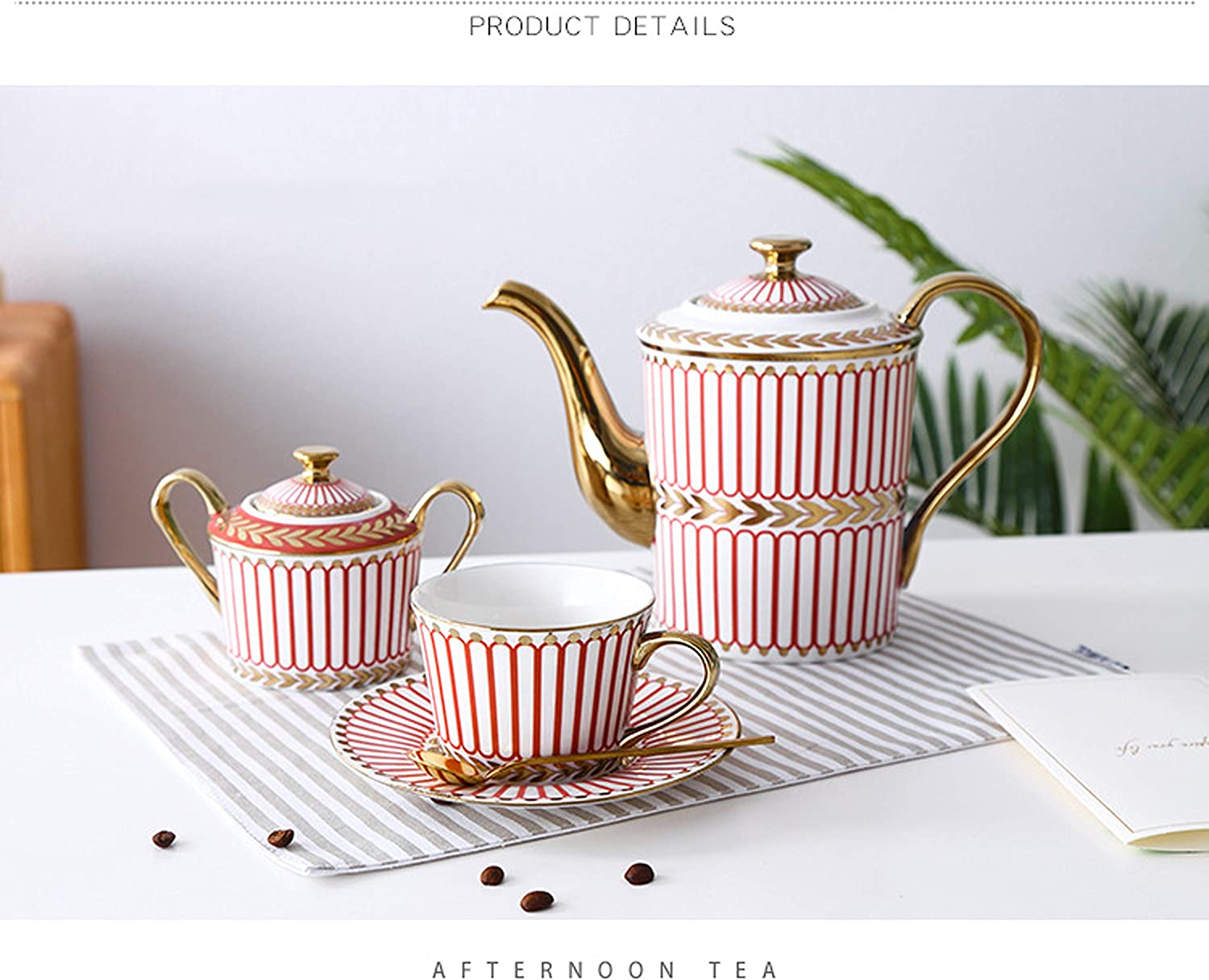 Hunkie Coffee cup set set Whole set European bone china ceramic cup and saucer tea set tea cup household water cup (Blue) Red