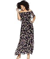 Off the Shoulder Printed Chiffon Maxi Dress