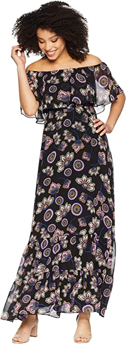 Off the Shoulder Printed Chiffon Maxi Dress