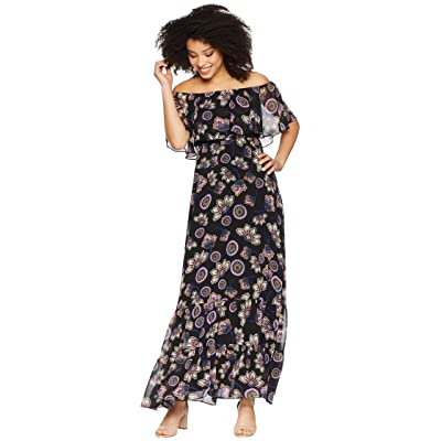 Donna Morgan Off the Shoulder Printed Chiffon Maxi Dress (Black/Petal Pink Multi) Women