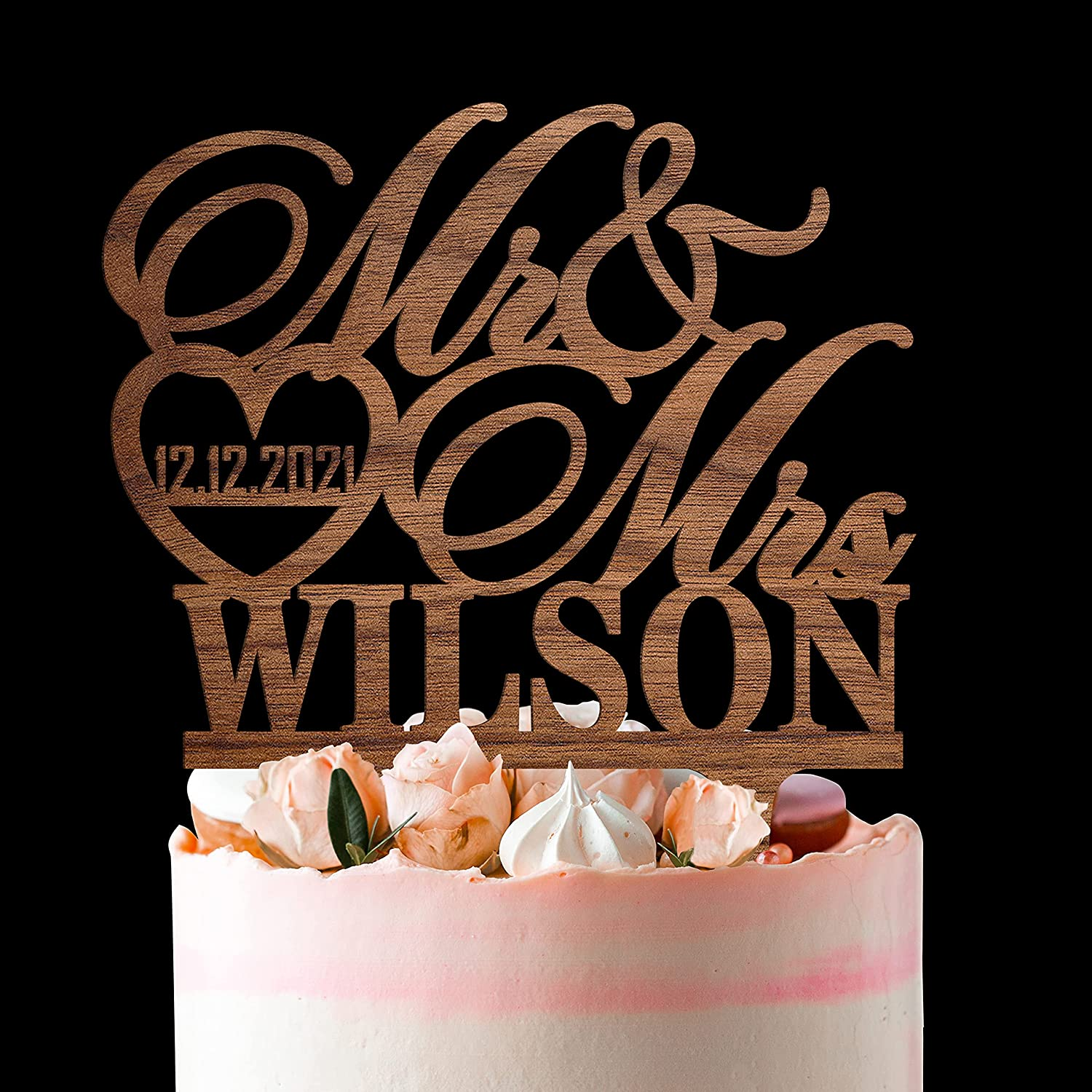 Personalized Wedding Cake Toppers - Mrs Cust half and lowest price Mr Topper