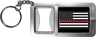 Siskiyou SFBK101 Thin Red Line Firefighter Flag Flashlight Key Chain with Bottle Opener, Grey, Pack of 1