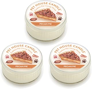 One Fur All Pet House Mini Candle Set, Pack of 3 - Pecan Pie - Pet Odor Eliminator Candle, Burn Time - 10-12 Hours Pet Candle, Non-Toxic, Allergen-Free & Ideal for Smaller Spaces