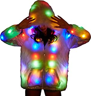 SAOMAI Womens Outerwear Performance Costume LED Faux Fur Splicing Jacket for Halloween,Party,Xmas,Carnival