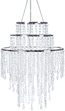SUNLI HOUSE 3 Tiers Wedding Chandelier Sparkling Acrylic Iridescent Beaded Pendant Shade, Ceiling Chandelier Lampshade with Chrome Frame,12
