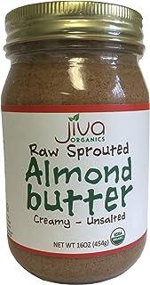 Jiva Organics RAW SPROUTED Organic Almond Butter 16-Ounce Large Jar
