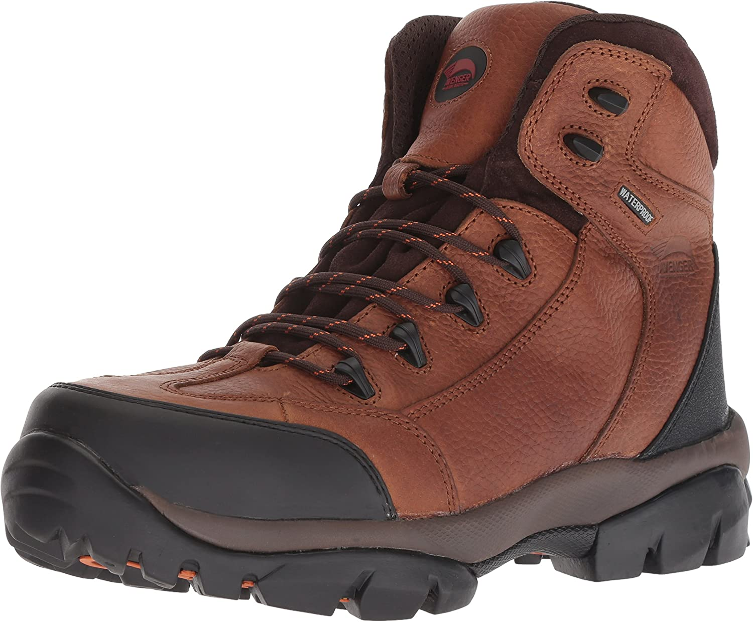 Avenger 7244 Leather Waterproof Comp Toe No Exposed Metal EH Work Boot Brown