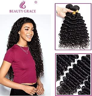 BEAUTY GRACE Deep Wave Human Hair 1 Bundles 20inch Natural Color Virgin Mink Deep Curly Hair Weave(20