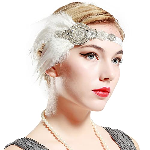 BABEYOND 1920s Flapper Gatsby Headpiece Black Feather Headband Vintage Beaded Headband Crystal Hair Accessories with Pearls for Prom Pageant Themed Party