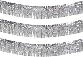 10 Feet Long Roll Foil Fringe Garland - Pack of 3 | Shiny Metallic Tassle Banner | Ideal for Parade Floats, Bridal Shower, Wedding, Birthday | Wall Hanging Fringe Garland Banner (Silver)